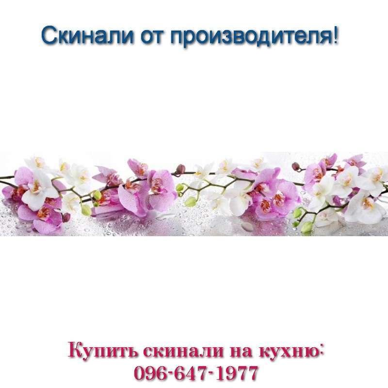 Фото скинали - веточки белых и сиреневых орхидей